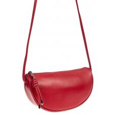 На фото 1 - Сумка-седло женская из натуральной кожи с подвеской, цвет красный