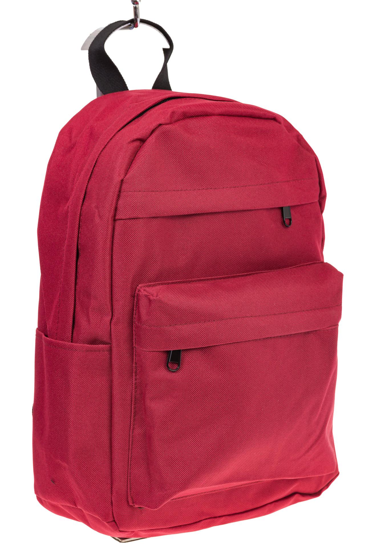 На фото простой рюкзак, цвет – красный, материал – текстиль, купить оптом в магазине Грета