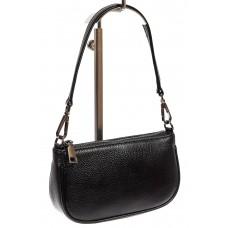 На фото 1 - Женская сумочка-малышка из натуральной кожи, цвет чёрный