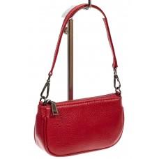 На фото 1 - Женская сумочка-малышка из натуральной кожи, цвет красный