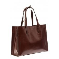 На фото 1 - Женская сумка тоут из натуральной кожи, цвет зеленый