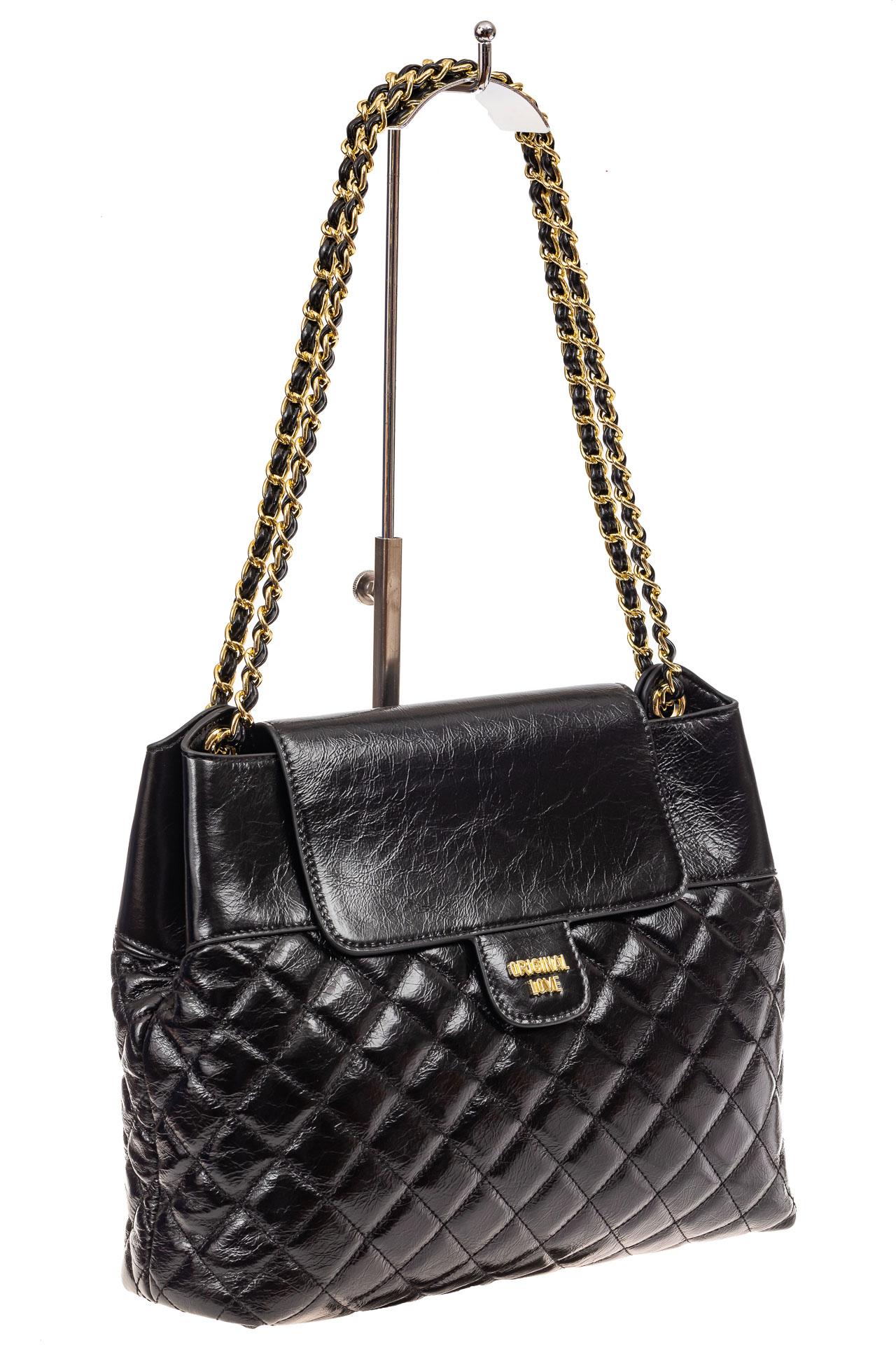 Роскошная сумка женская стеганая из натуральной кожи, цвет черный9113NK1219/1