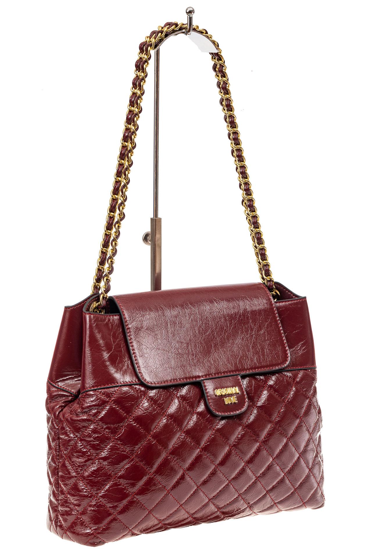 Качественная сумка женская стеганая из натуральной кожи, цвет бордо9113NK1219/4