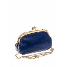 На фото 1 - Женская вечерняя сумочка с фермуаром, цвет синий