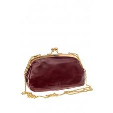 На фото 1 - Женская вечерняя сумочка с фермуаром, цвет бордо