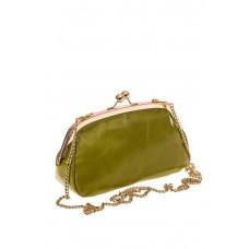 На фото 1 - Женская вечерняя сумочка с фермуаром, цвет зеленый