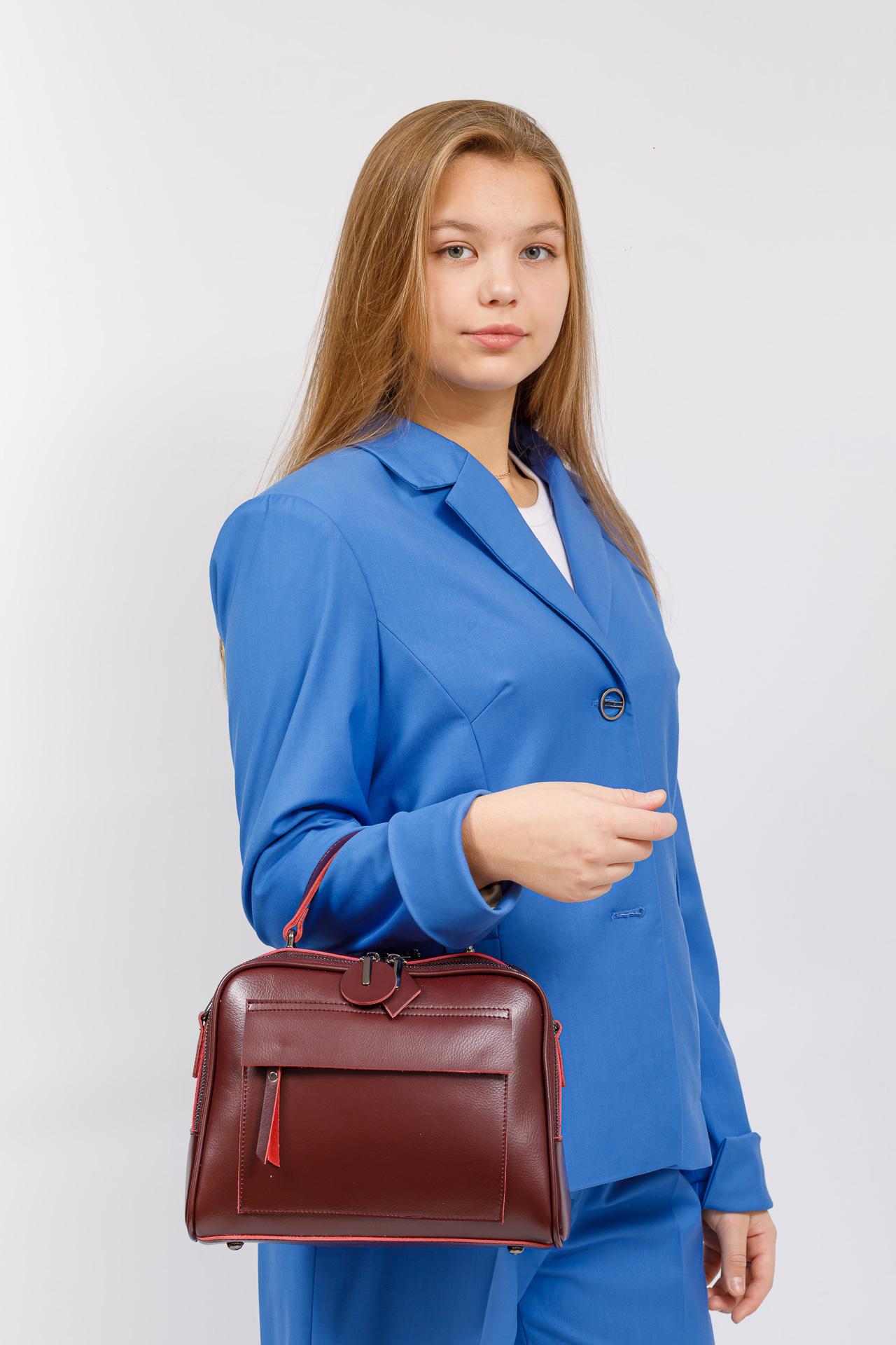 На фото 5 - Сумка женская из натуральной кожи, цвет бордо