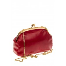 На фото 1 - Небольшая вечерняя сумочка с фермуаром, цвет красный