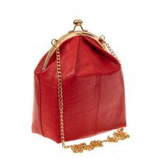 На фото 1 - Женская вечерняя сумочка с фермуаром, цвет красный