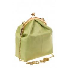 На фото 1 - Женская вечерняя сумочка с фермуаром, цвет салатовый