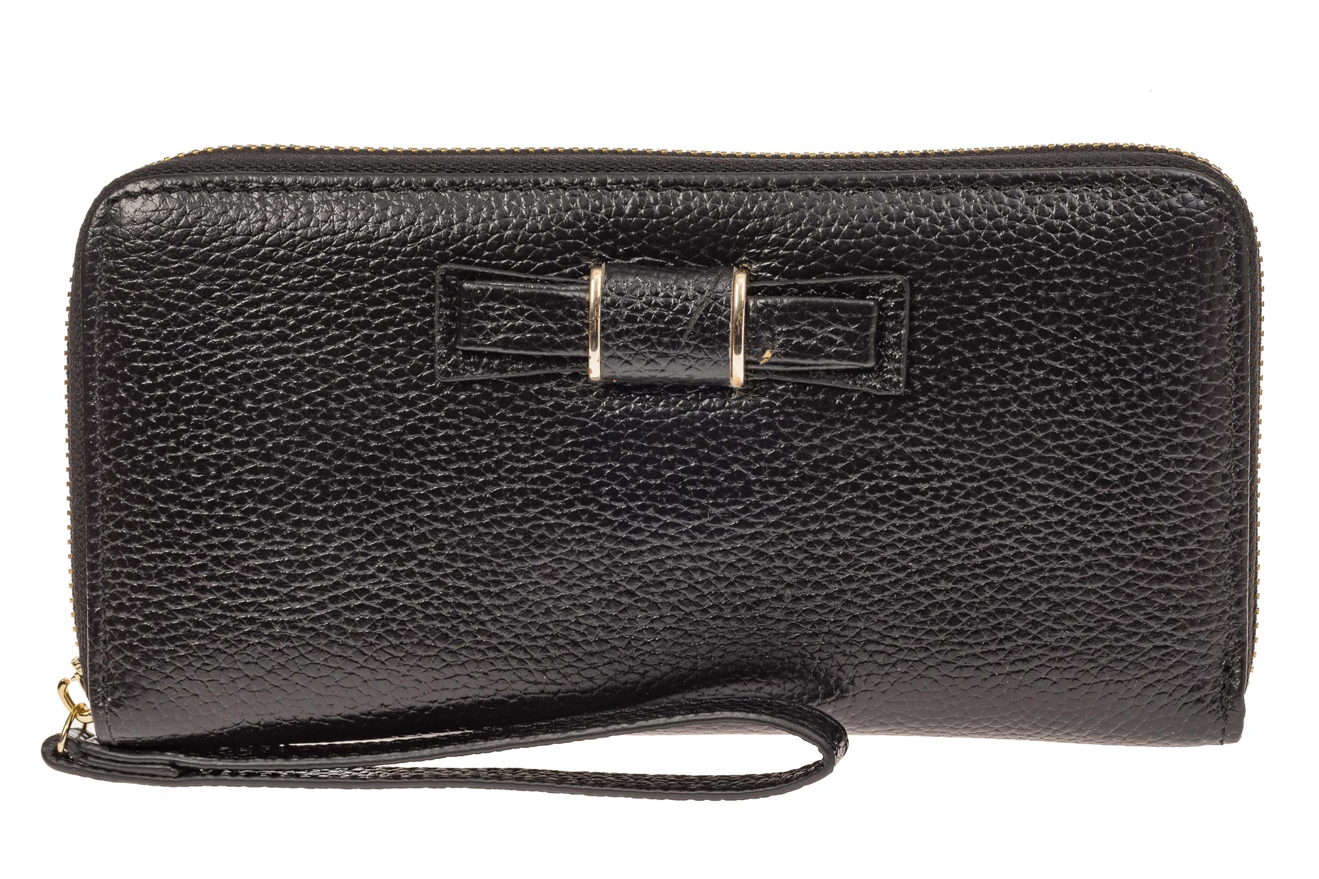 На фото 1 - Элегантное портмоне из натуральной кожи, цвет черный