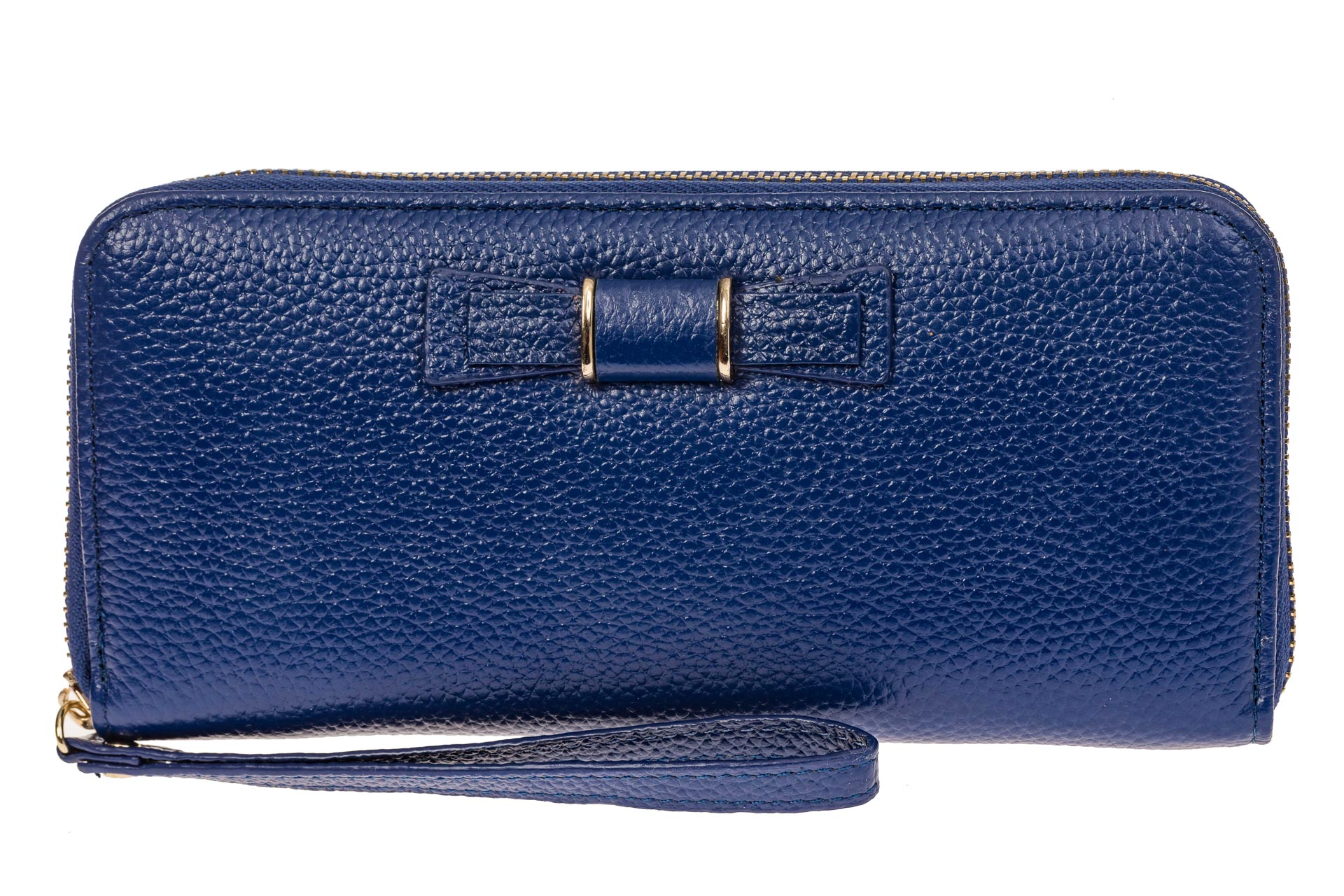 На фото 1 - Элегантное портмоне из натуральной кожи, цвет синий