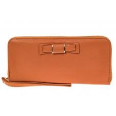 На фото 1 - Элегантное портмоне из натуральной кожи, цвет рыжий