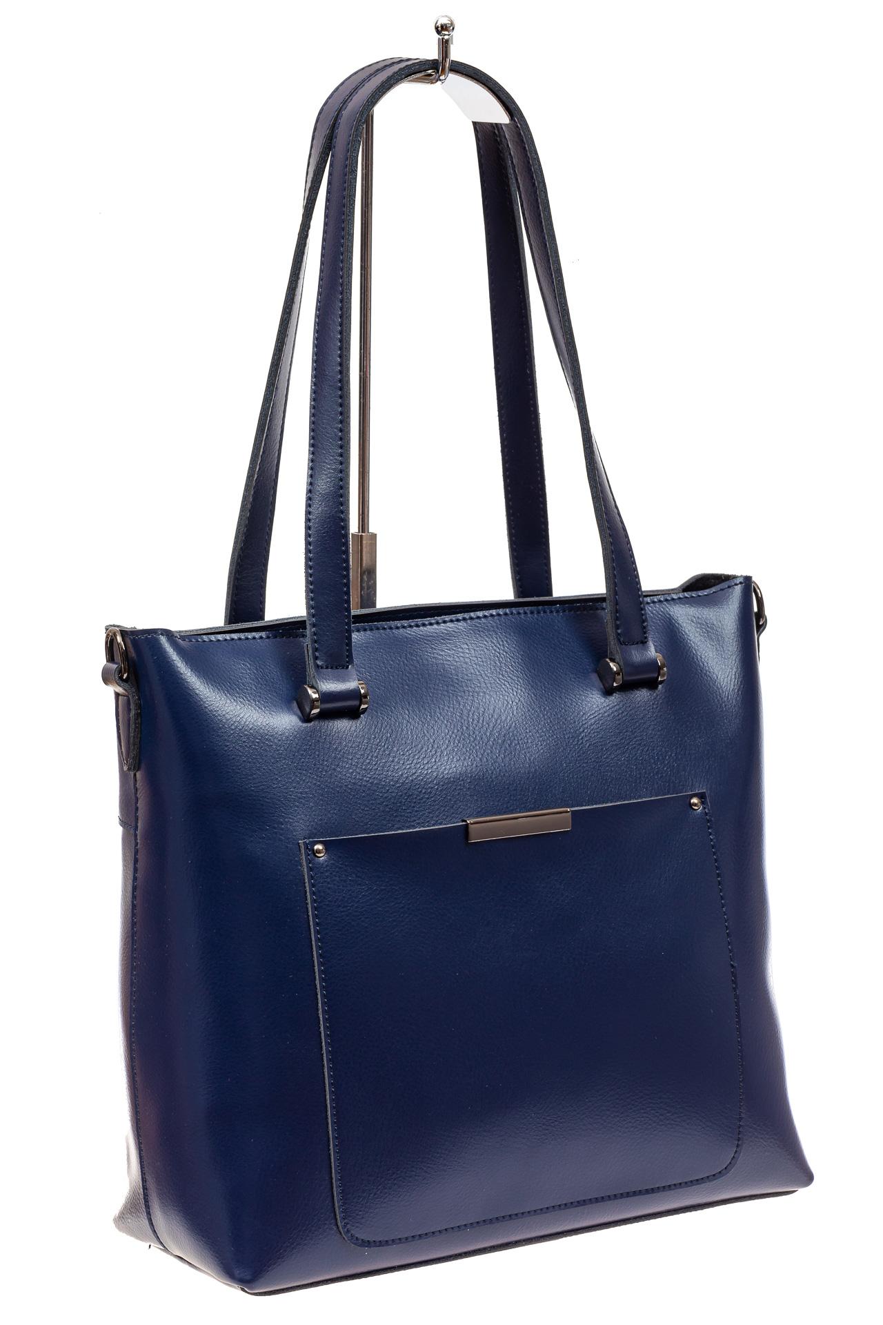 На фото 1 - Сумка женская шоппер из кожи, синяя