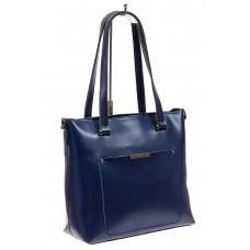 На фото 1 - Сумка женская шоппер из натуральной кожи, цвет синий