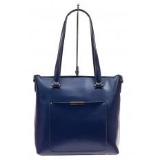 На фото 2 - Сумка женская шоппер из кожи, синяя