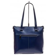 На фото 3 - Сумка женская шоппер из кожи, синяя