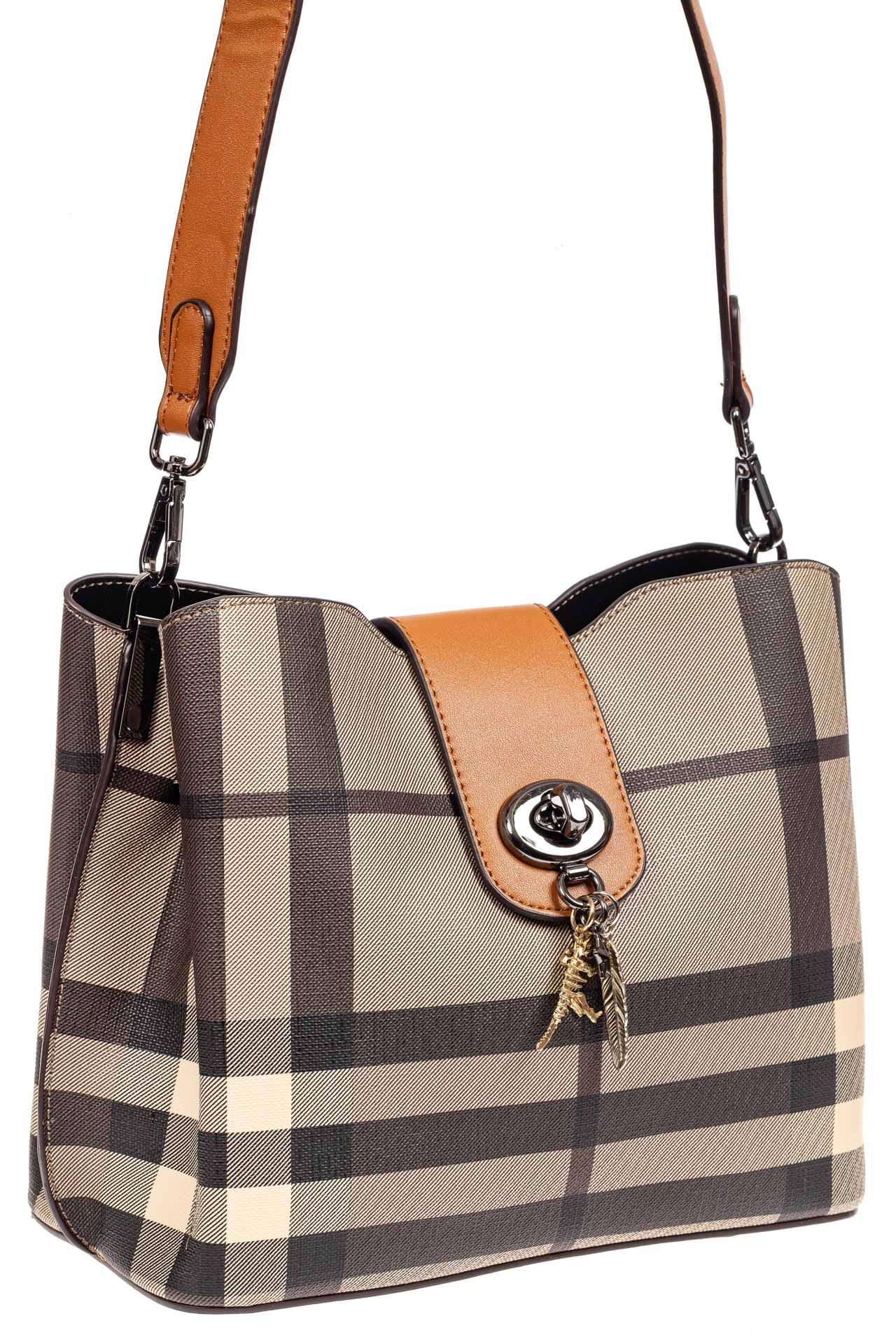 Женская сумка в клетку из экокожи, цвет горта бежевый9143NK0420/10