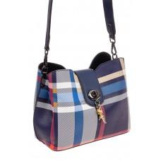 На фото 1 - Женская сумка в клетку из искусственной кожи, цвет синий