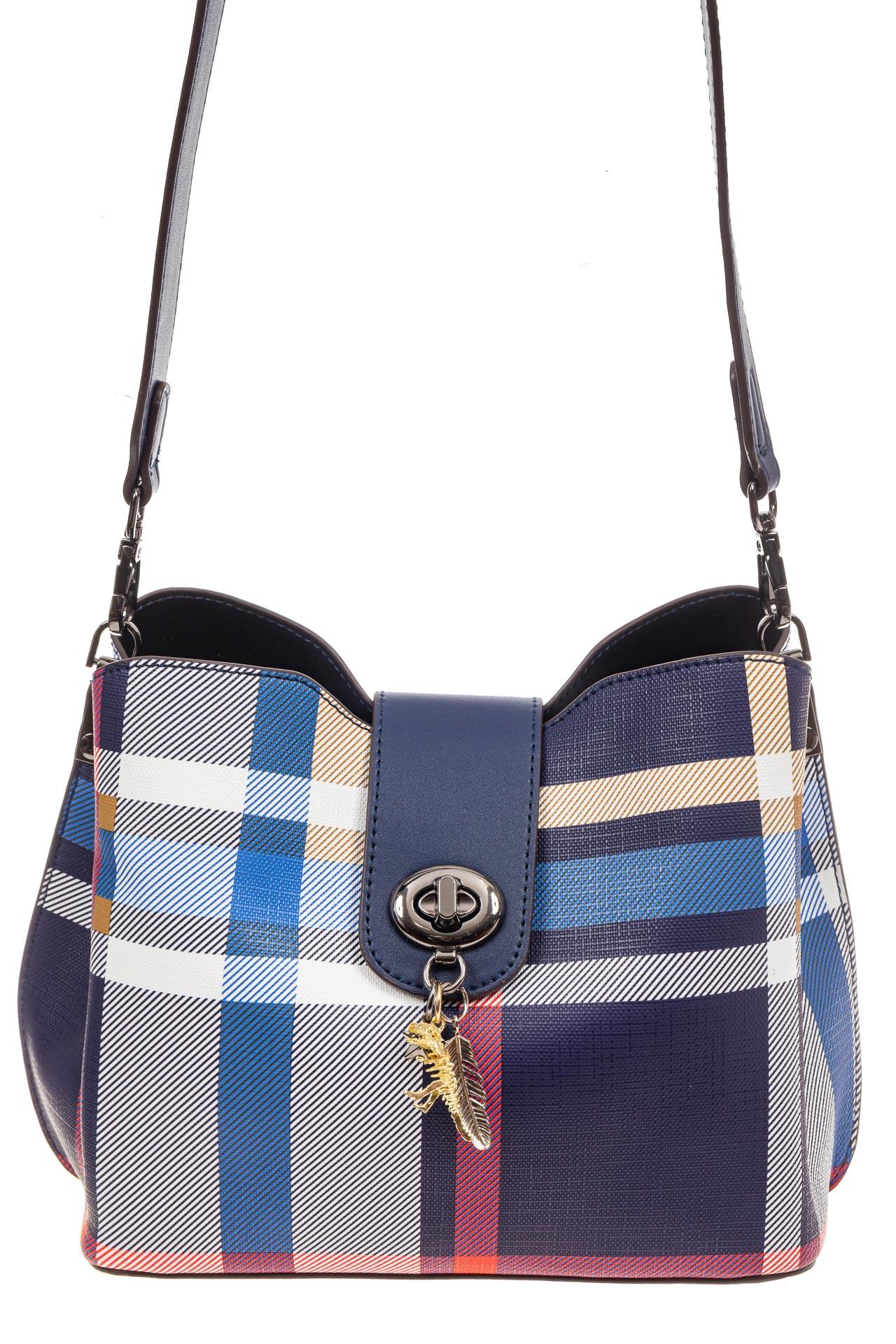 На фото 2 - Женская сумка в клетку из искусственной кожи, цвет синий