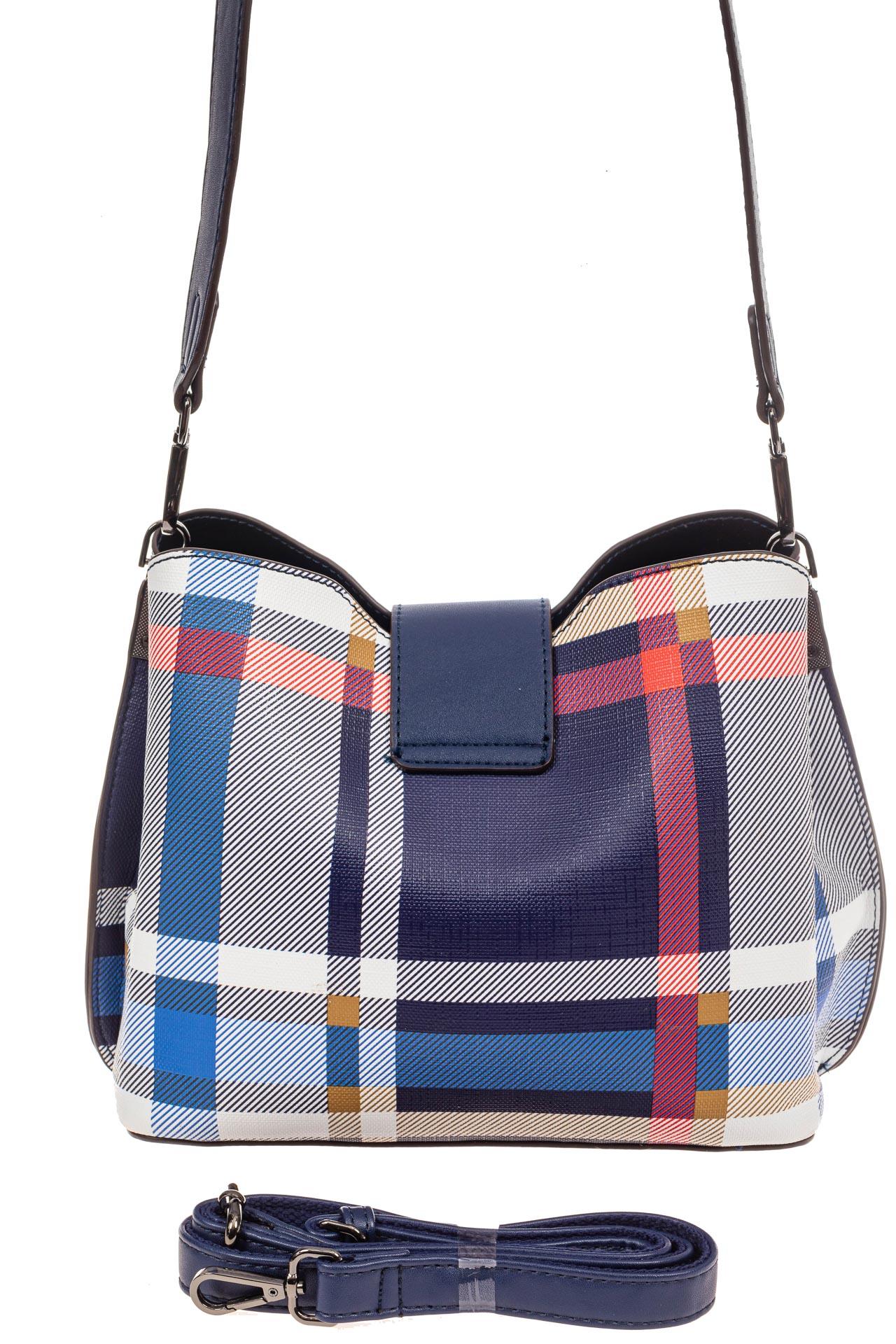 На фото 3 - Женская сумка в клетку из искусственной кожи, цвет синий