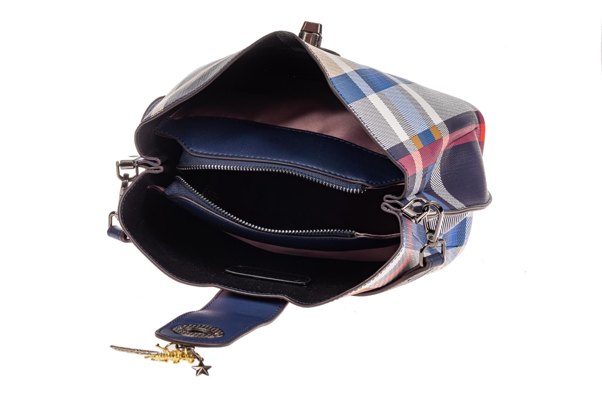 На фото 4 - Женская сумка в клетку из искусственной кожи, цвет синий