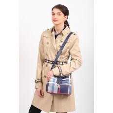 На фото 5 - Женская сумка в клетку из искусственной кожи, цвет синий