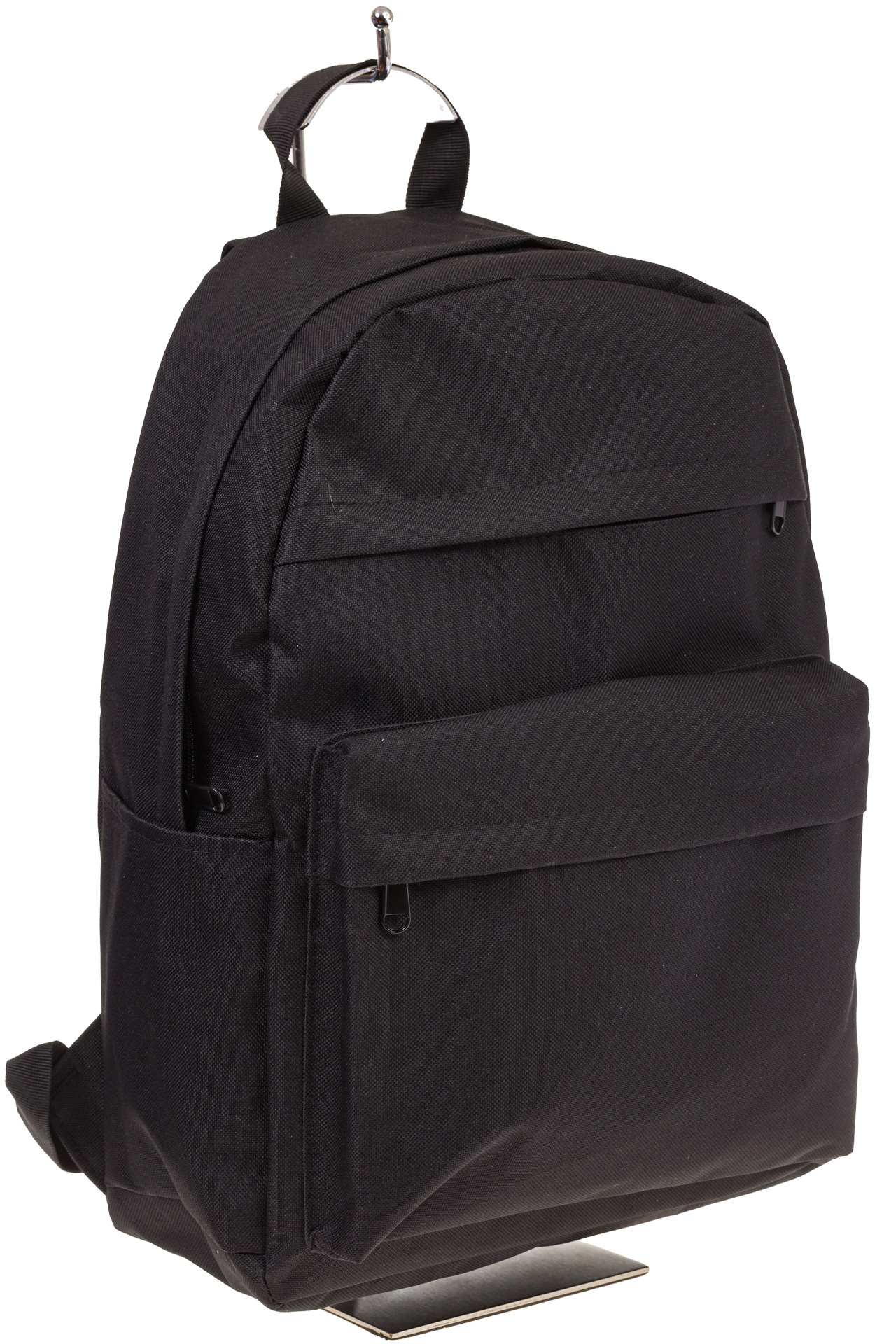 На фото универсальный молодежный рюкзак, цвет – черный, материал – текстиль, купить оптом в магазине Грета