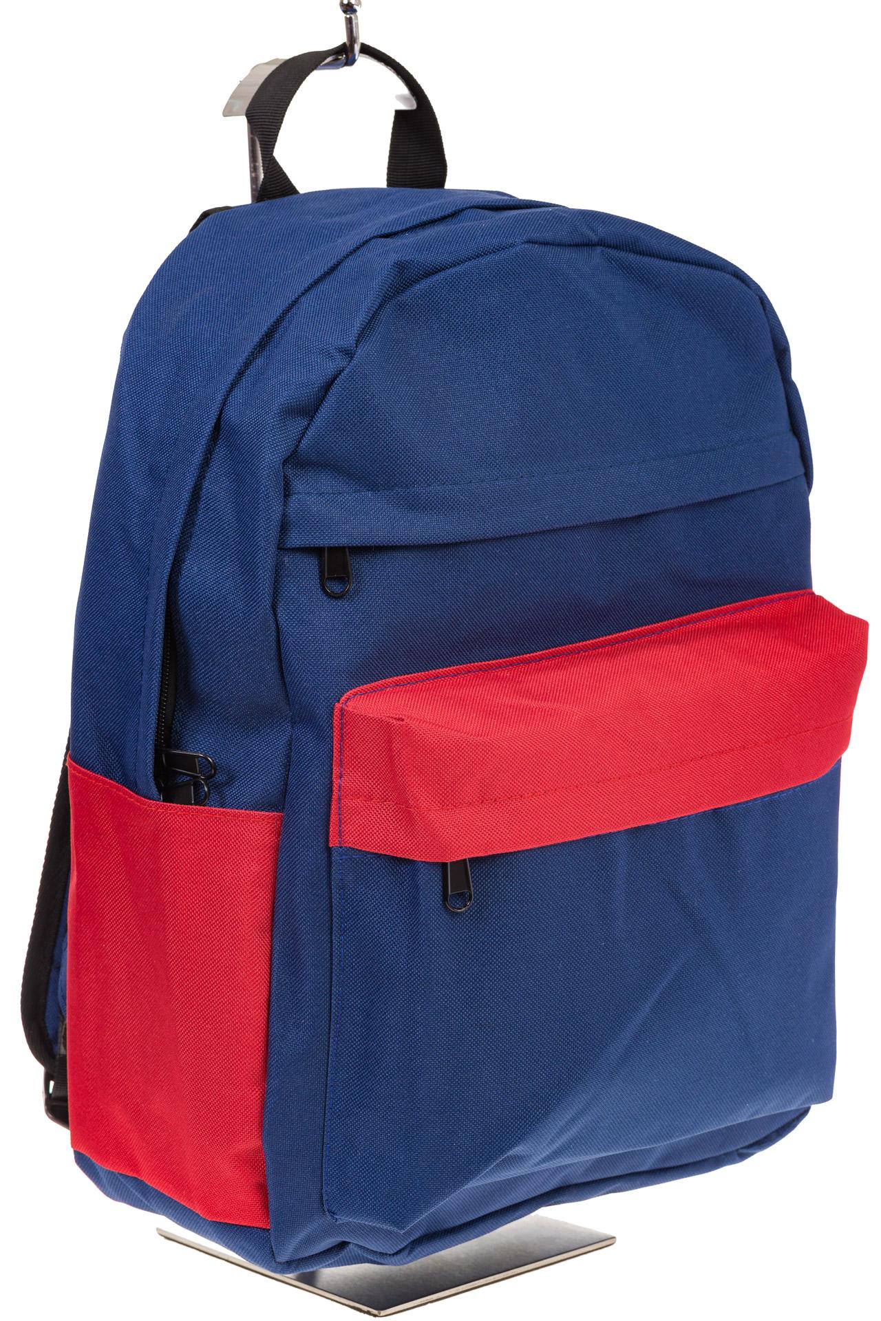 На фото универсальный молодежный рюкзак, цвет – сине-красный, материал – текстиль, купить оптом в магазине Грета