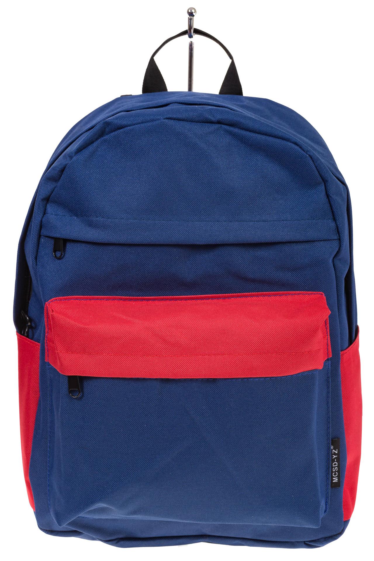 На фото 2 - Универсальный молодежный рюкзак из текстиля, цвет – сине-красный