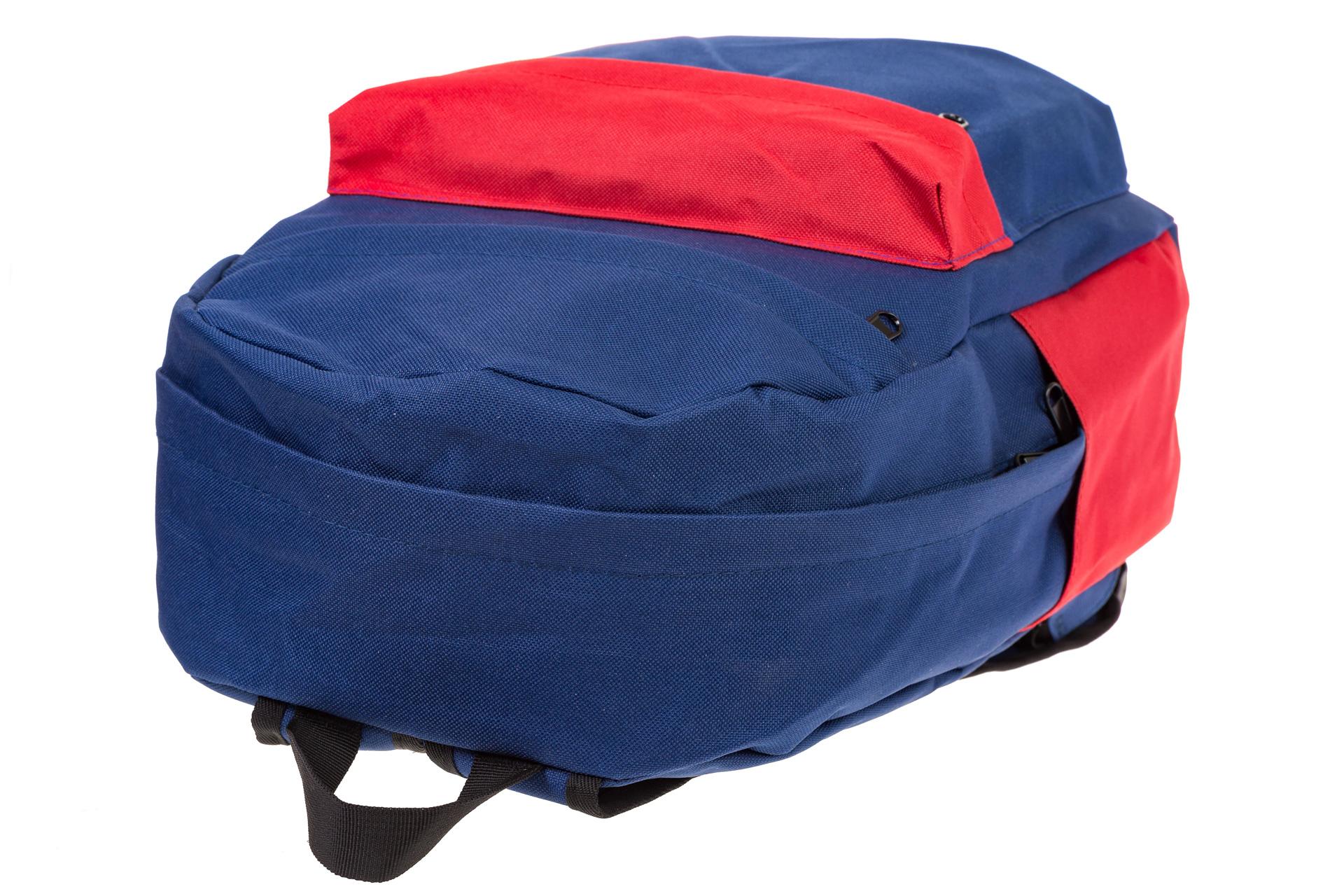 На фото 4 - Универсальный молодежный рюкзак из текстиля, цвет – сине-красный