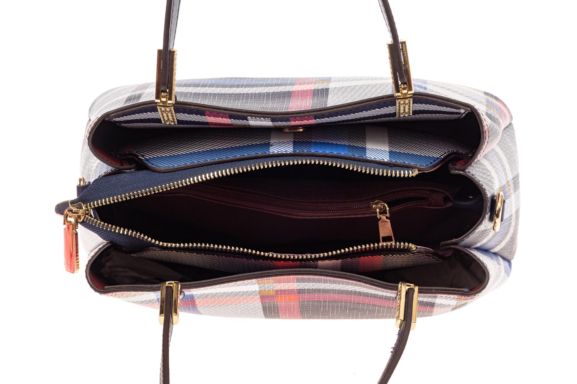 На фото 4 - Женская сумка тоут из искусственной кожи, мультицвет в клетку