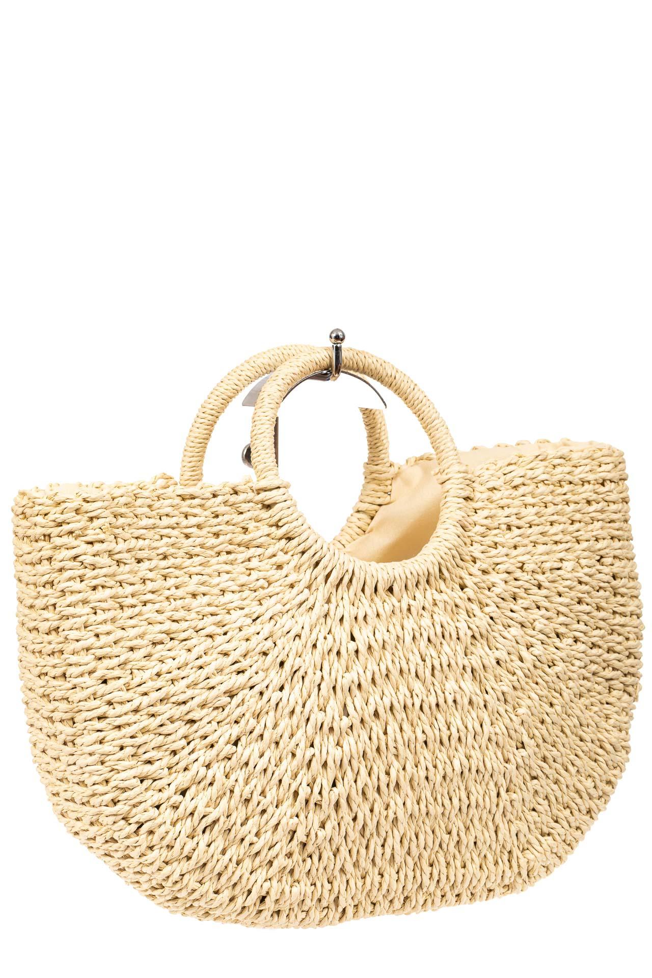 Соломенная сумка-корзинка с круглыми ручками, цвет молочный915SS0420/19
