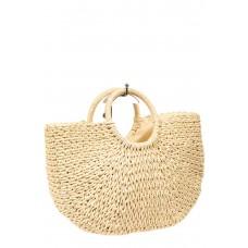 На фото 1 - Соломенная сумка-корзинка с круглыми ручками, цвет молочный