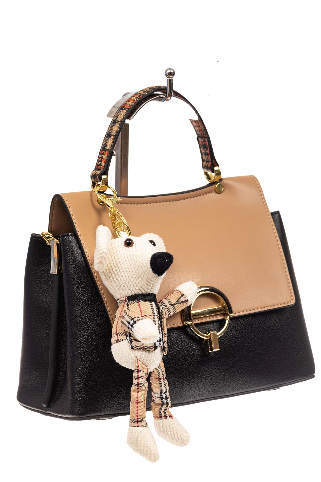 На фото 1 - Классическая сумка-трапеция из кожзама, цвет черный с бежевым