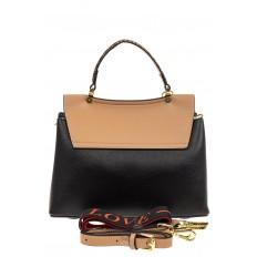 На фото 3 - Классическая сумка-трапеция из кожзама, цвет черный с бежевым