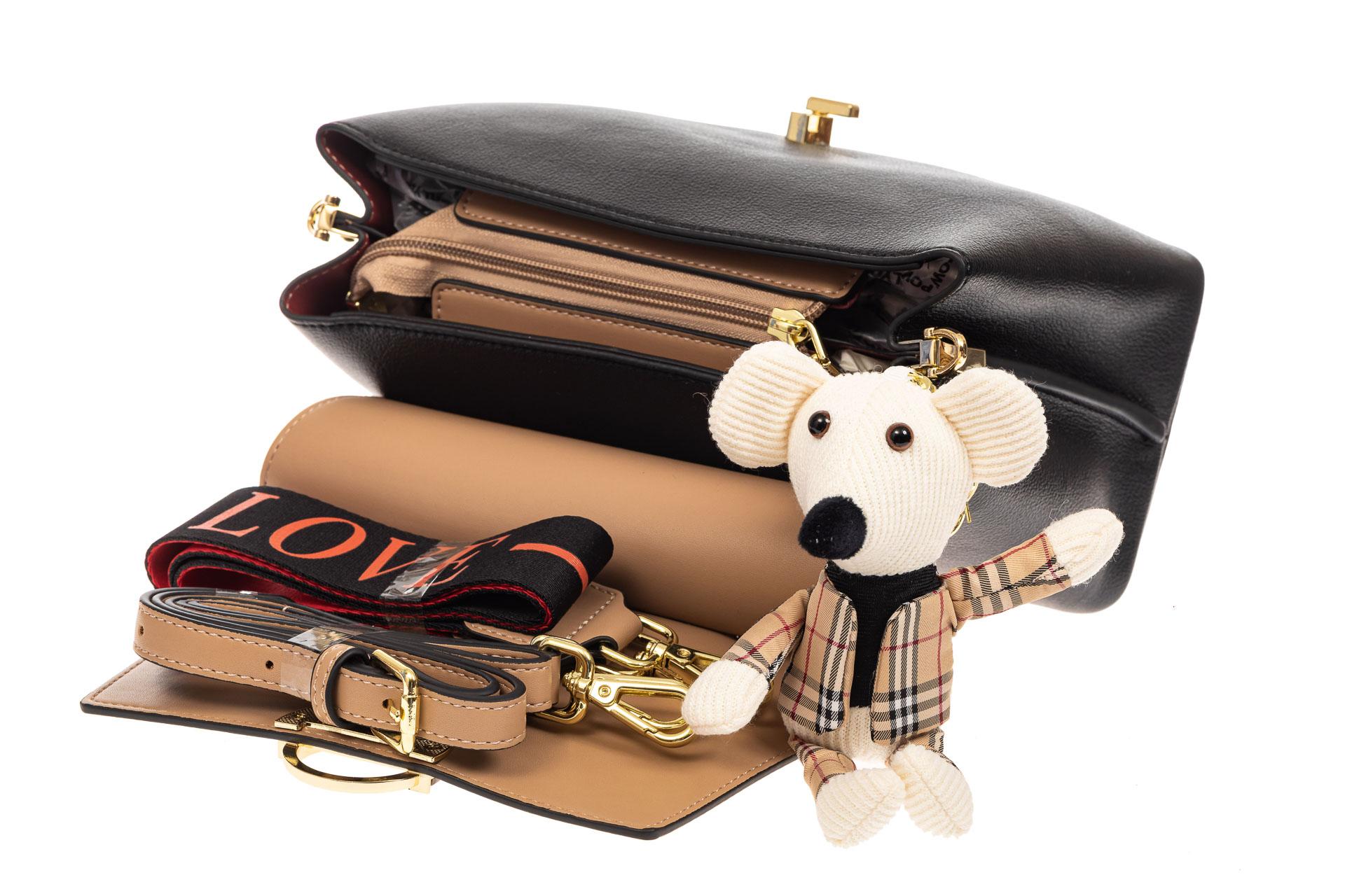 На фото 4 - Классическая сумка-трапеция из кожзама, цвет черный с бежевым
