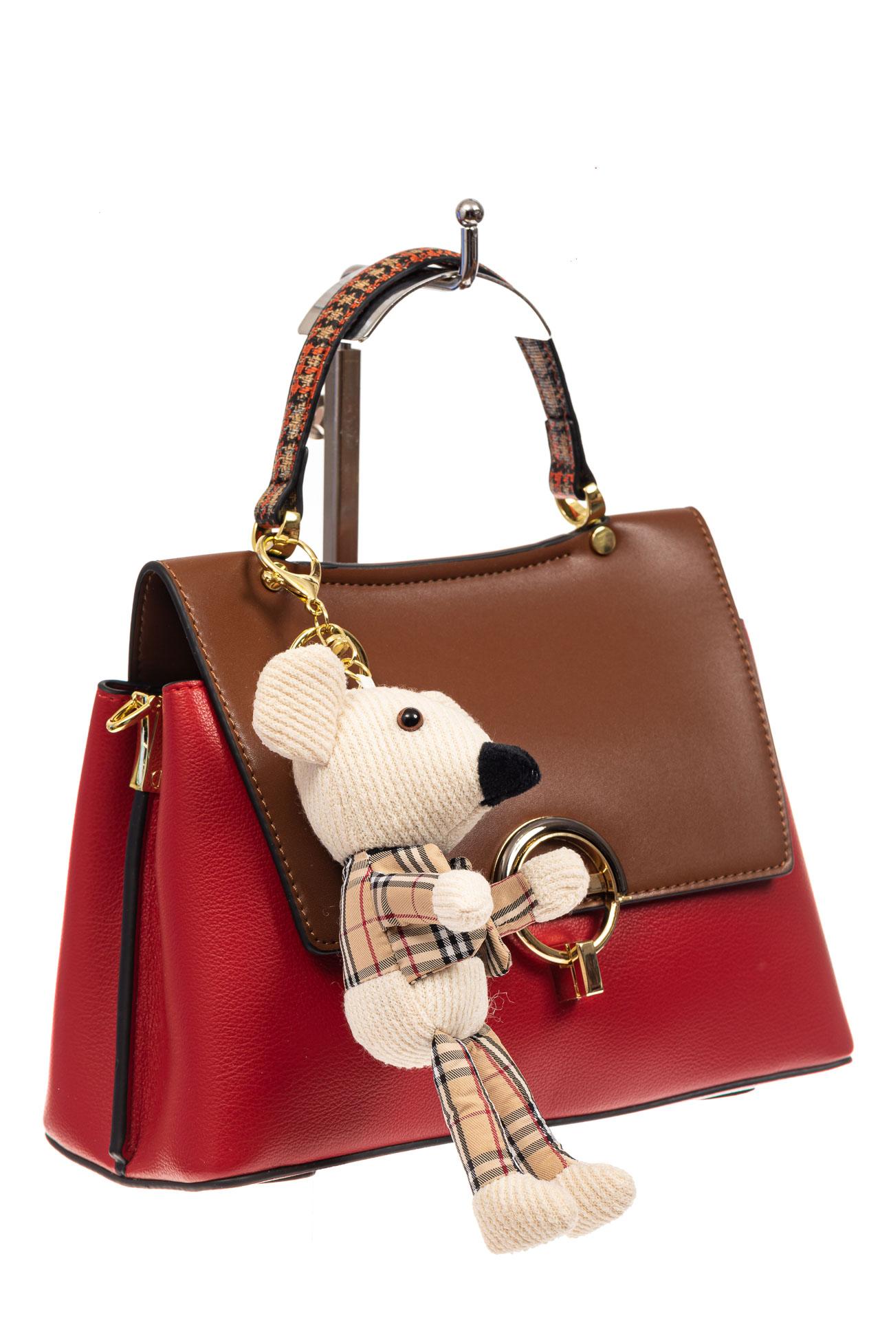 На фото 1 - Классическая сумка-трапеция из кожзама, цвет красный с коричневым