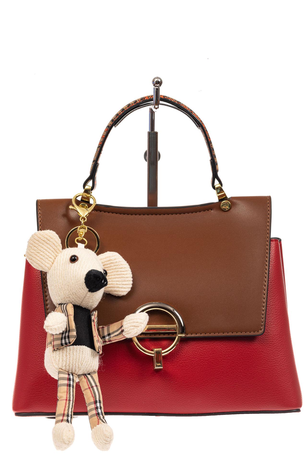 На фото 2 - Классическая сумка-трапеция из кожзама, цвет красный с коричневым