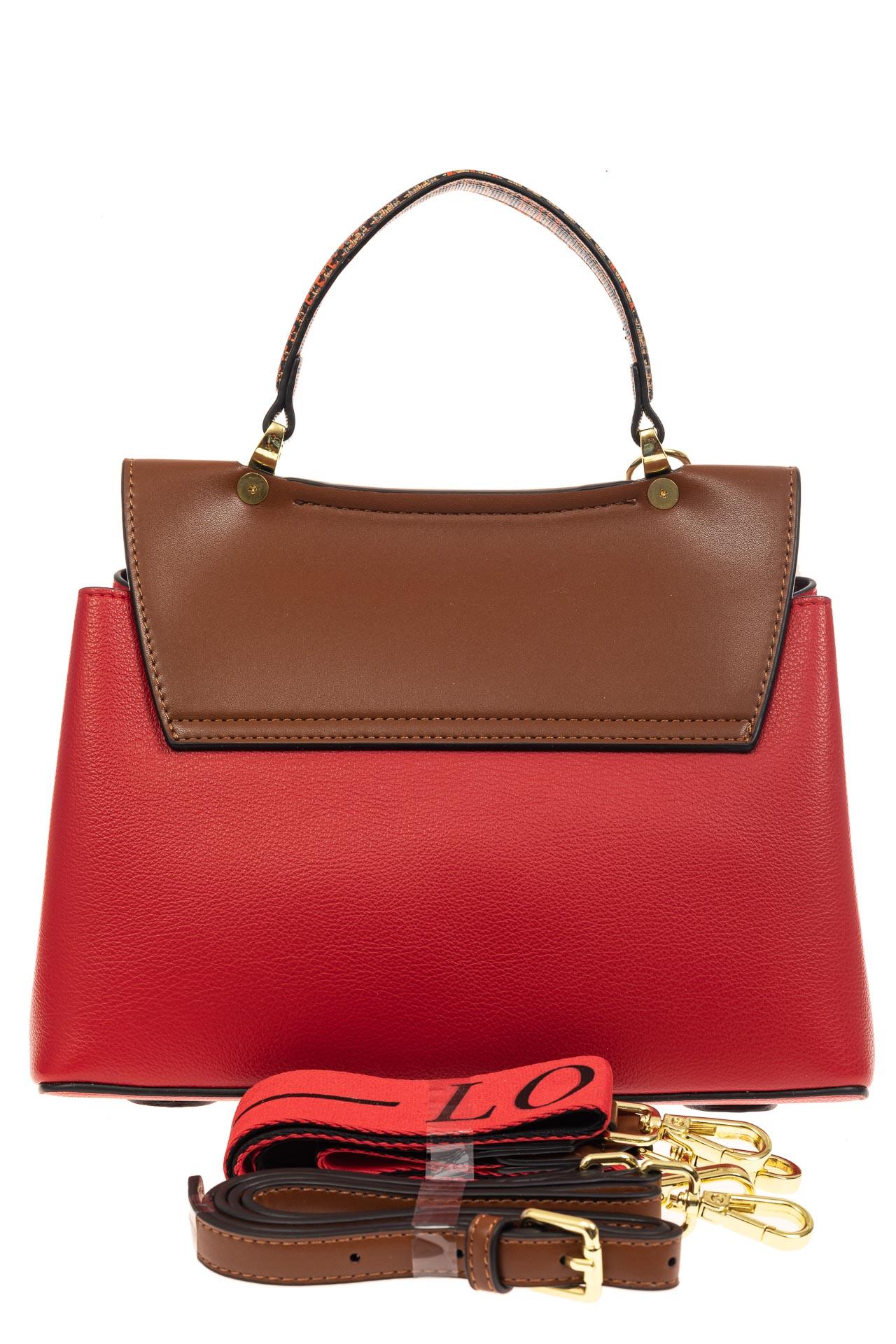 На фото 3 - Классическая сумка-трапеция из кожзама, цвет красный с коричневым