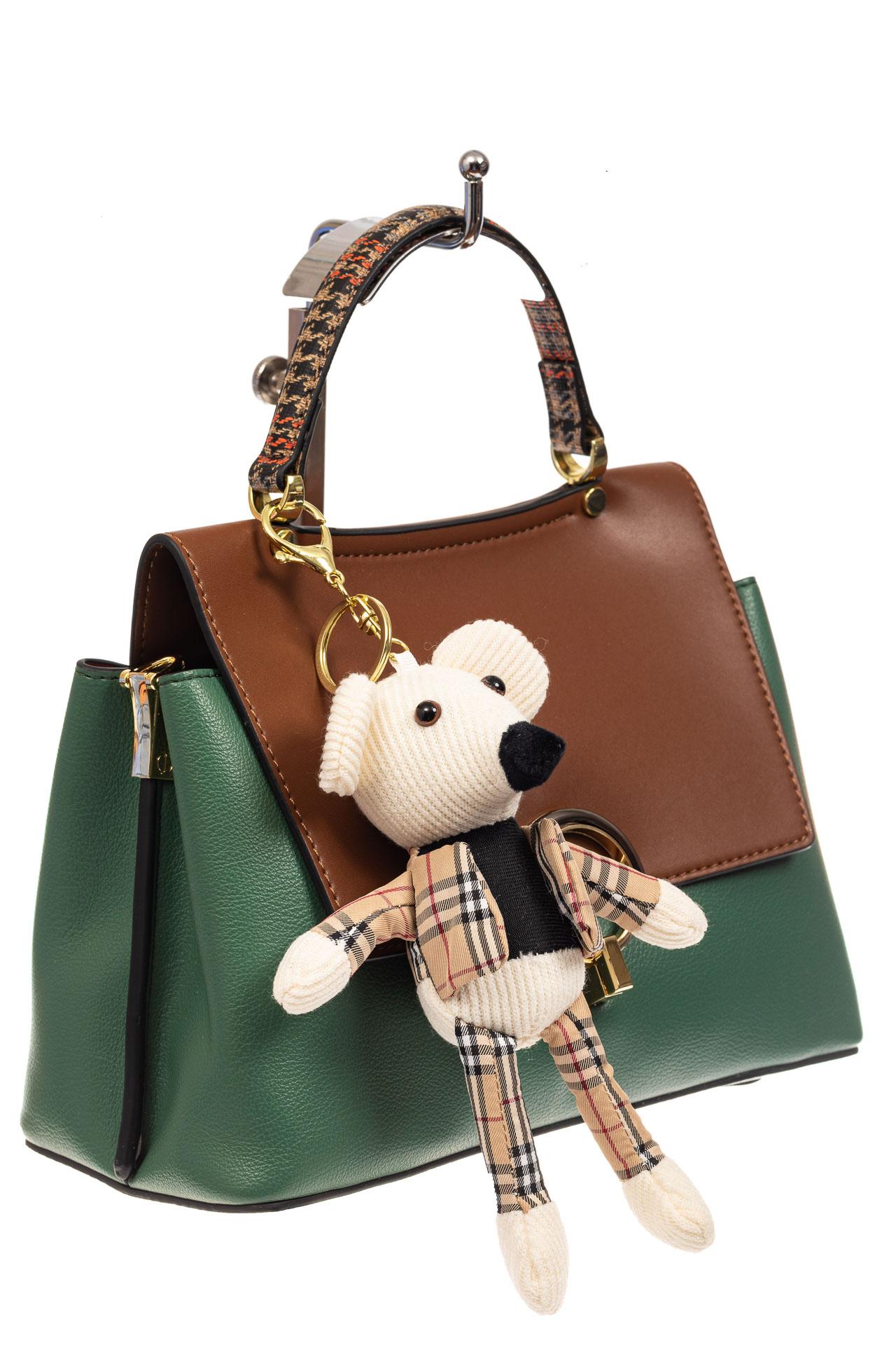 На фото 1 - Классическая сумка-трапеция из кожзама, цвет зеленый с коричневым