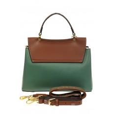 На фото 3 - Классическая сумка-трапеция из кожзама, цвет зеленый с коричневым