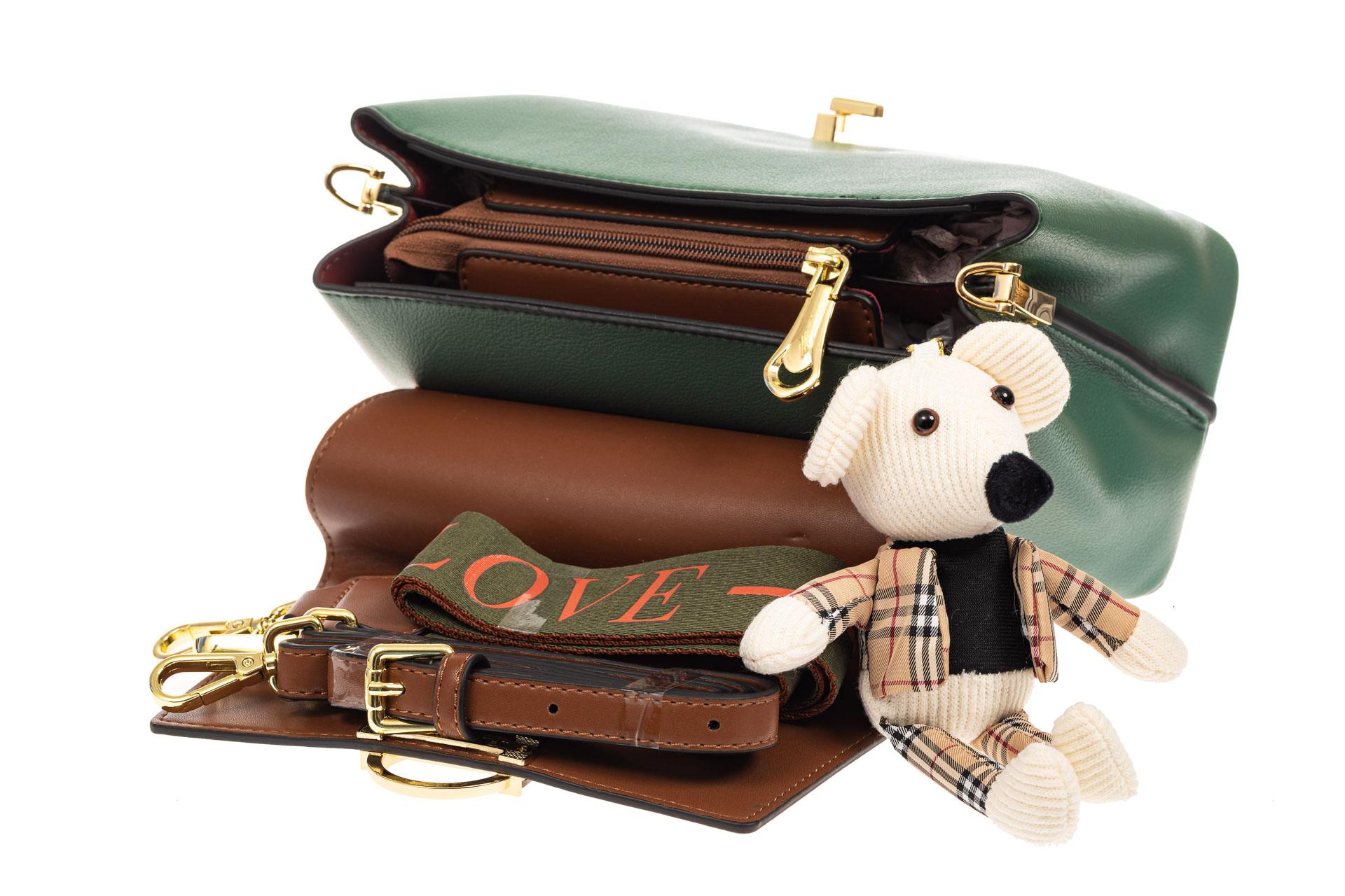 На фото 4 - Классическая сумка-трапеция из кожзама, цвет зеленый с коричневым