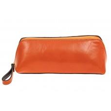 На фото 1 - Пенал-косметичка из натуральной кожи, цвет оранжевый