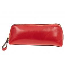 На фото 1 - Пенал-косметичка из натуральной кожи, цвет красный