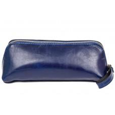 На фото 1 - Пенал-косметичка из натуральной кожи, цвет синий