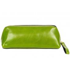 На фото 1 - Пенал-косметичка из натуральной кожи, цвет зеленый