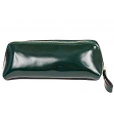 На фото 1 - Пенал-косметичка из натуральной кожи, цвет темно-зеленый