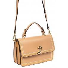 На фото 1 - Женская сумка-малышка из экокожи, бежевая