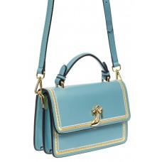 На фото 1 - Женская сумка-малышка из экокожи, голубая